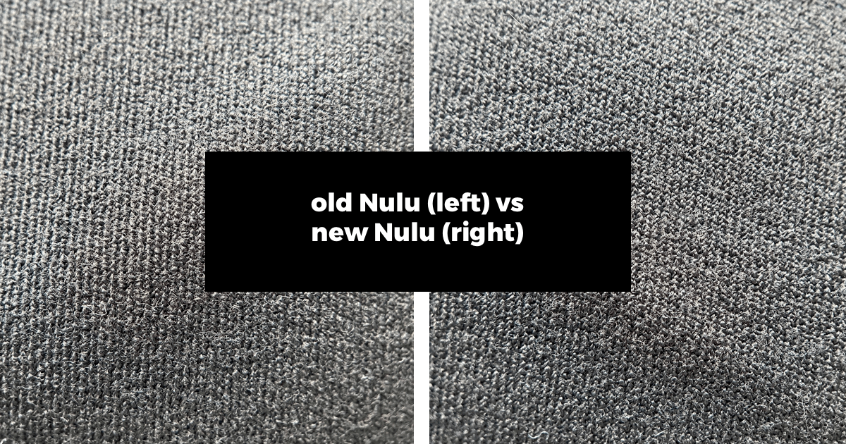 did lululemon change the align fabric? here is a comparison photo of the old nulu vs new nulu