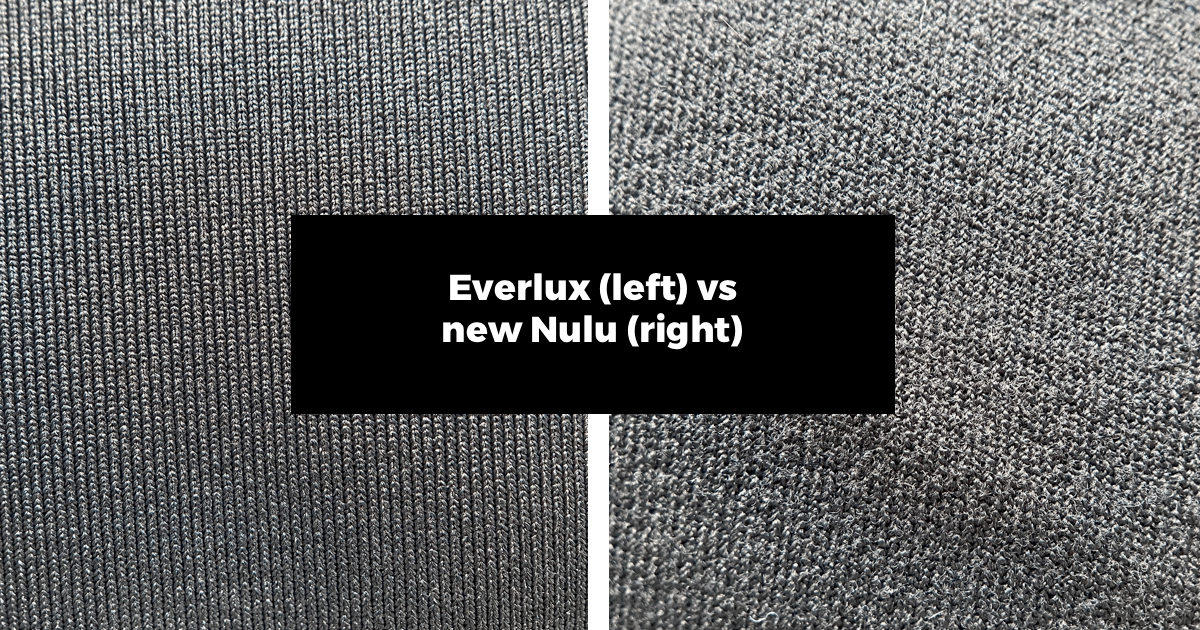did lululemon change align fabric? here is a comparison photo of the new nulu vs everlux