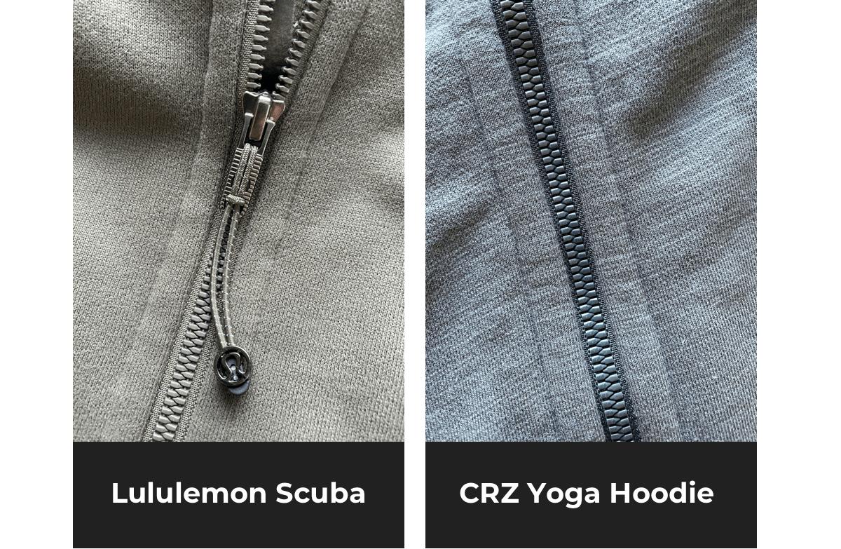 side by side comparison of lululemon scuba hoodie vs similar crz yoda hoodie